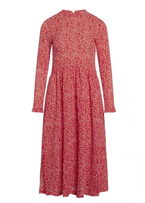 Bumpy flower docca dress RED / WHITE