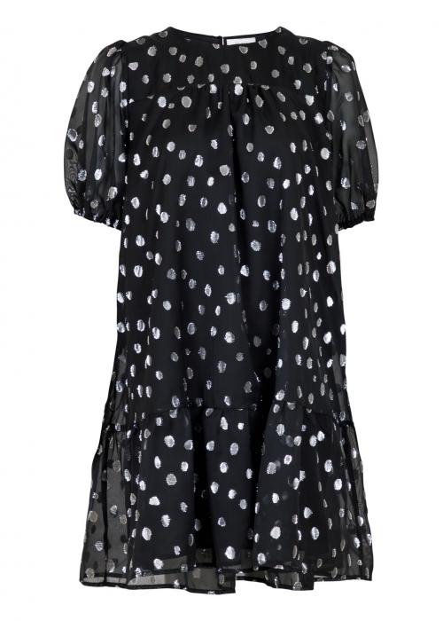 Isolde silver dot dress BLACK