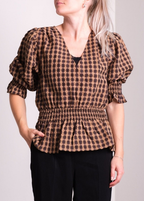 Mia airy check blouse CAMEL