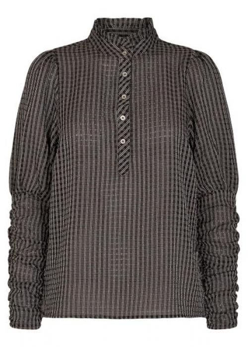 Clear check puff shirt BLACK