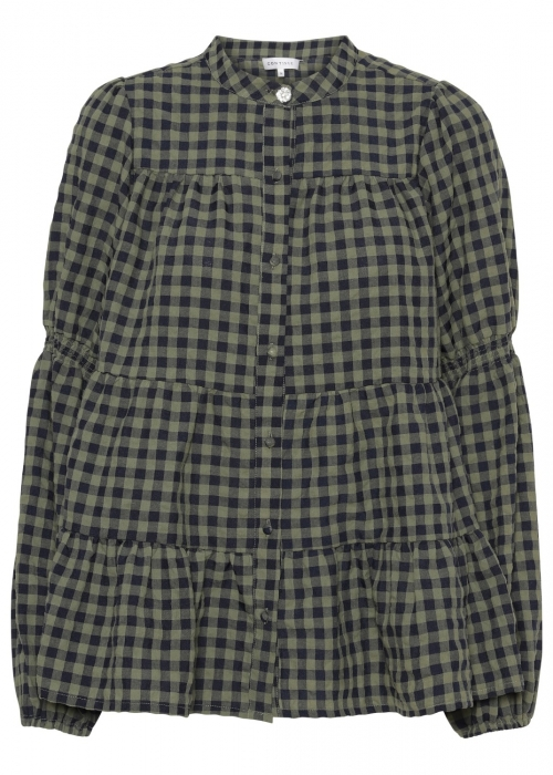 Sanna small check shirt ARMY