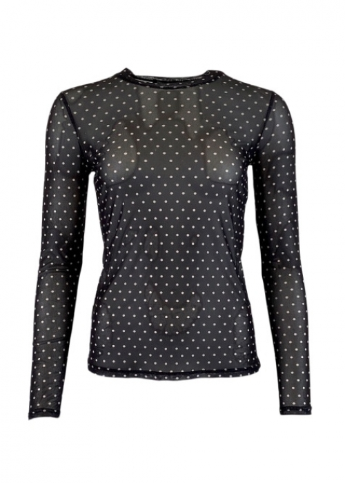 Annie mesh blouse BLACK DOT