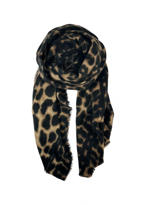 Flavia leo scarf BLACK BROWN