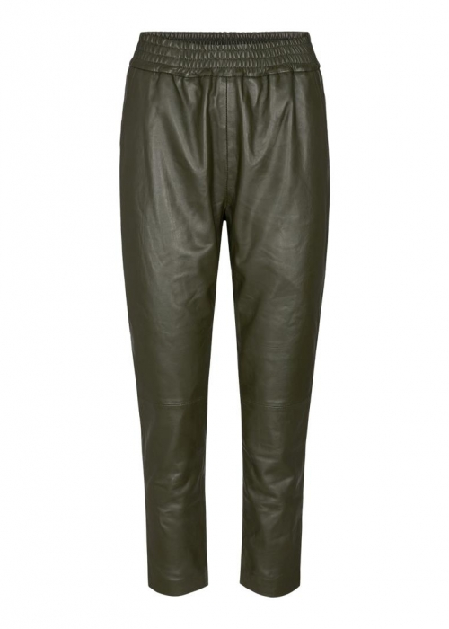 Shiloh Crop Leather Pants ARMY