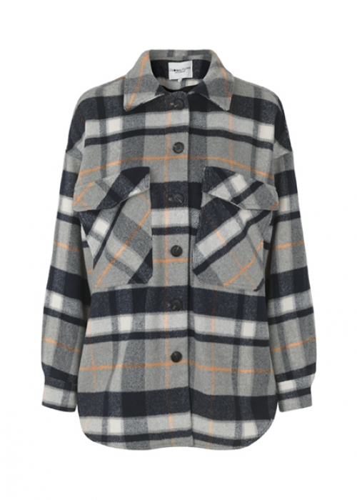 Hatsy jacket NAVY ORANGE CHECK