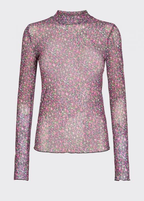 Filana L/S mesh blouse CARMINE ROSE