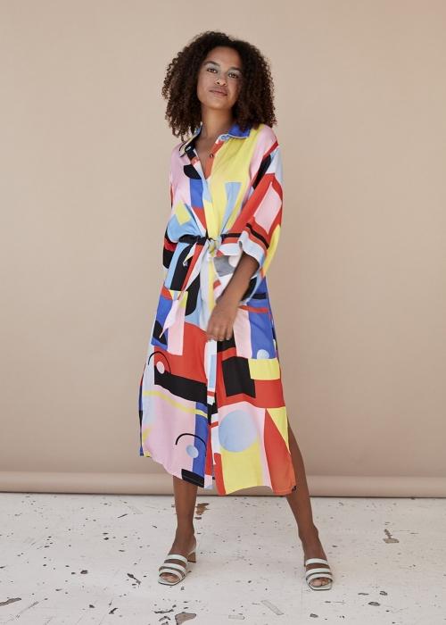 Raquel Kimono dress SQUARE PRINT
