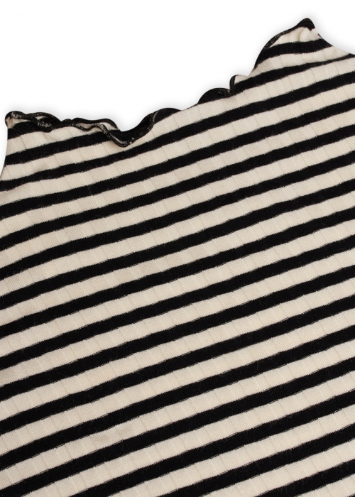 5 x 5 Stripe mix trutte L/S shirt OFF WHITE / BLACK