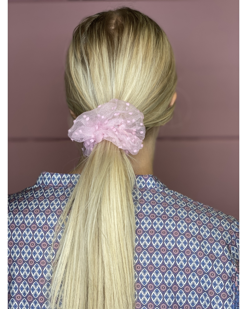 Bella dot mesh scrunchie PINK