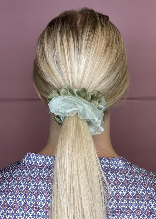 Naya satin mesh scrunchie GREEN