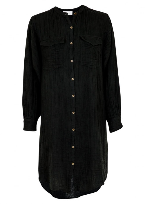 Kendell Gauze Shirt Dress BLACK