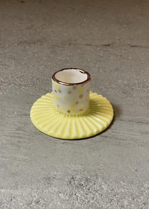 Porcelæns lysestage GUL