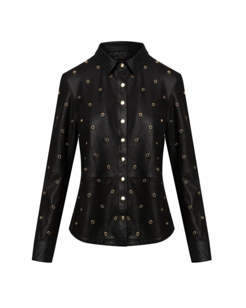Skind skjorte med guld nitter 50182 BLACK