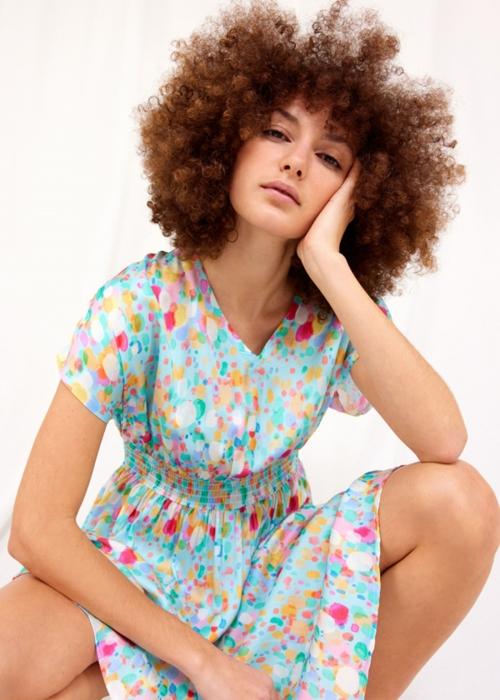 Luisa short dress BLUE BOBBLES