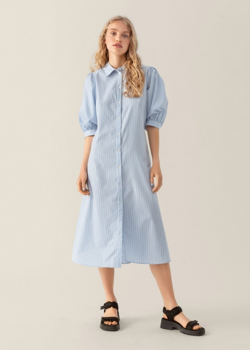 Zhen Nona 2/4 shirt dress P BLUE STRIPE