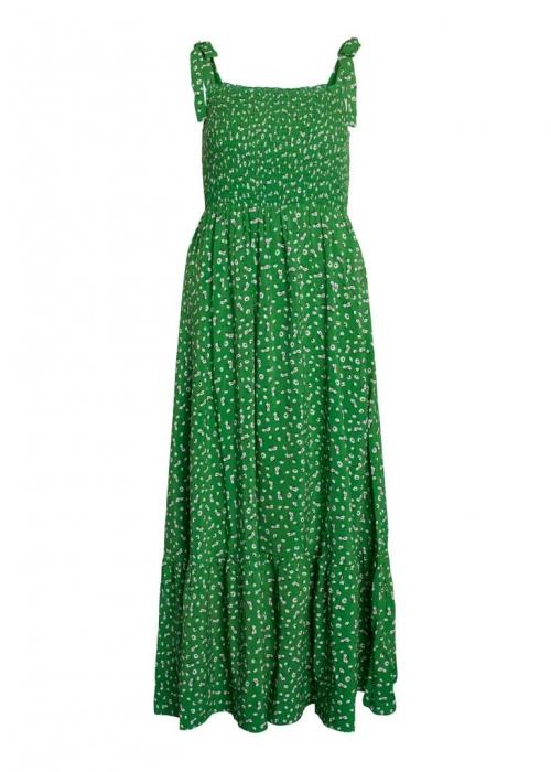 Green flower strap dress GREEN
