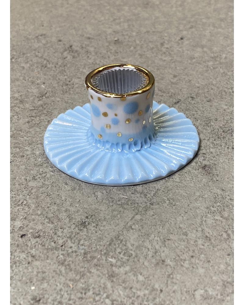 Porcelæns lysestage LYSEBLÅ