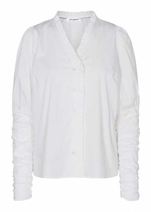 Sandy V-frill shirt WHITE