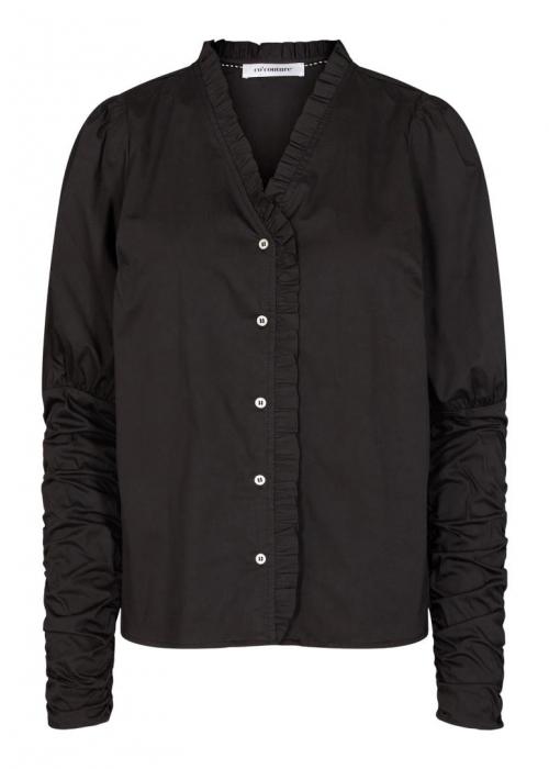 Sandy V-frill shirt BLACK
