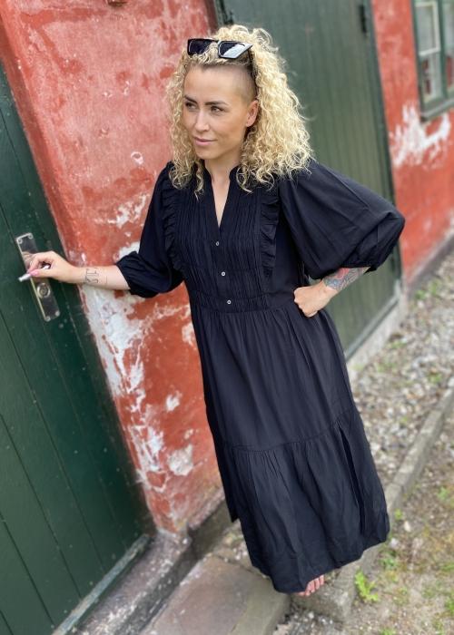 Samia sun frill dress BLACK